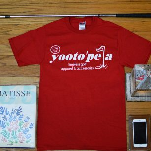 yootopea golf red logo tee